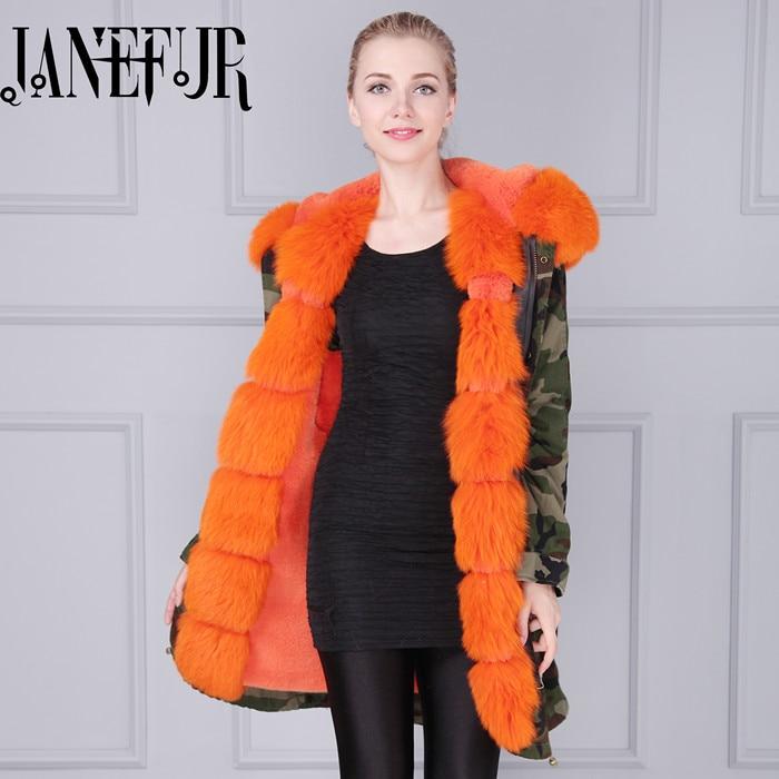 Genuine Fox Fur Collar Coat 2016 New Fashion Womens Winter Jackets And Coats Hooded Faux Fur Coat Warm Luxury Fox Fur Parkas