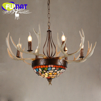FUMAT Antlers Resin Chandelier Lamp Modern LED Antler Chandelier Lustre Restaurant Chandeliers Vintage led light Novelty Lightin