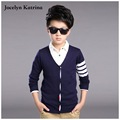 Jocelyn Katrina spring and autumn 100% boy sweater European and American fashion V-neck cardigan sweater jacket children