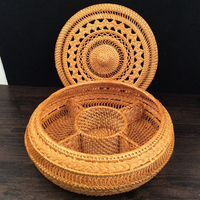 Wicker Rattan Basket with Lid Tray for Dried Fruit Snacks Candy Home Organization Woven Storage Basket Tea Cake Handcraft Box
