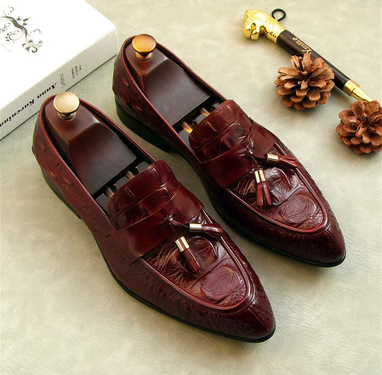 Shoes Men Smrt Casual Flats Genuine Leather Stone Pattern Tassels Pointed Toes Slip On Loafers Wedding Dress Shoes Red Black npezkgc men shoes fashion leather doug casual flat tassels slip on driver dress loafers pointed toe moccasin wedding shoes