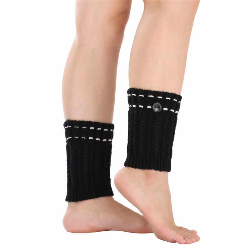 Kadın Moda Kış Bacak Isıtıcıları Düğme Noktalı Çizgi Tığ Örme Çizme Çorap