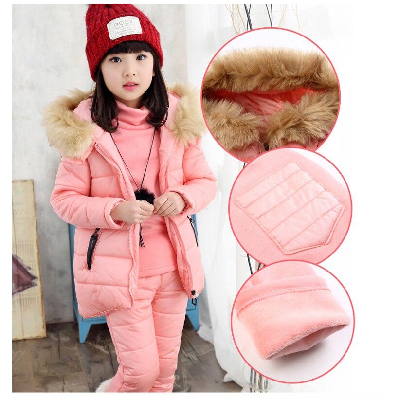 Fashion Winter Children Outfits Tracksuit Girls Clothing Kids Hoodies+Coat+Pants 3pcs Sport Suit Fashion Girls Clothing Sets children sets girls winter sweater coat