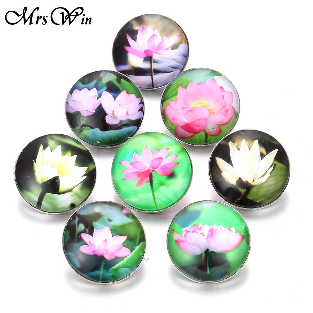 10pcslot Mixed 18mm Glass Snap Buttons Jewelry Chinese Lotus Flower