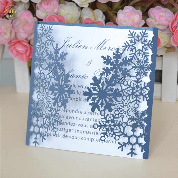 Snowflake Christmas Invitations Laser Cut 12pcs Winter
