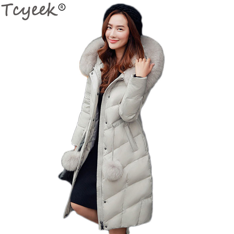 Tcyeek Women Winter Jaskets And Coats 2018 White Duck Down Parka Women Hood Jacket 100% Natural Fox Fur Collar Warm HJ294