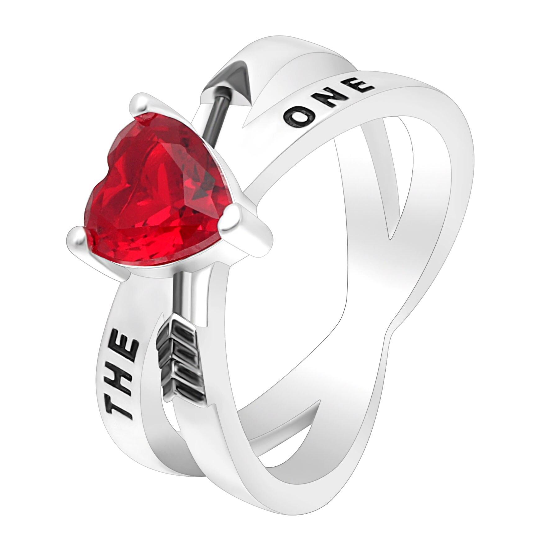Hainon Новая мода Серебряный Цвет Свадебные Обручение кольца для Для женщин стрелка Красное Сердце Lover кольца ювелирных изделий обещает кольц...