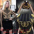 2017 New Embroidery Beaded Sequin Crop Top Sexy Celebrity Runway Winter Handmade Embroidery Outfit Broque Vintage Rhinestone Top