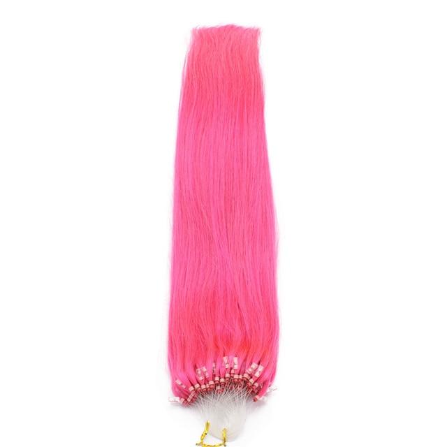 100 Brazilian Virgin Remy Hair Hot Pink Straight Micro Bead Loop