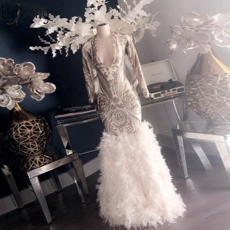 Amazing Feathers Mermaid Evening Dress Long Sleeves Deep V Neck Prom Dresses High Quality Lace Formal Party Gowns Robe De Soiree