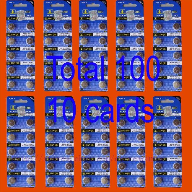 100PCS AG13 LR44 357 SR44SW alkaline battery TIANQIU стоимость