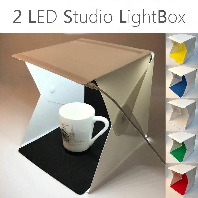 New Upgrade 2 LED Photography Studio Softbox Portable Folding Lightbox DSLR Camera Photo Background Light Soft Box Panels kit