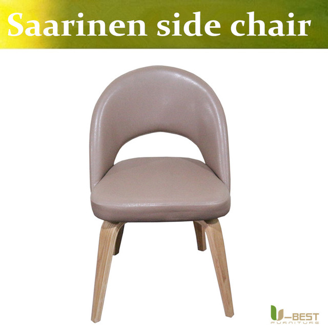 Free shipping U-BEST Saarinen Executive mid century side dining chair with wood leg