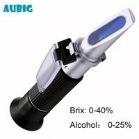 AUBIG Alcohol Refractometer Sugar Wine Concentration Meter Densimeter 0 25% Alcohol 0 40% Brix Grapes VDP Wine Beer Brewing