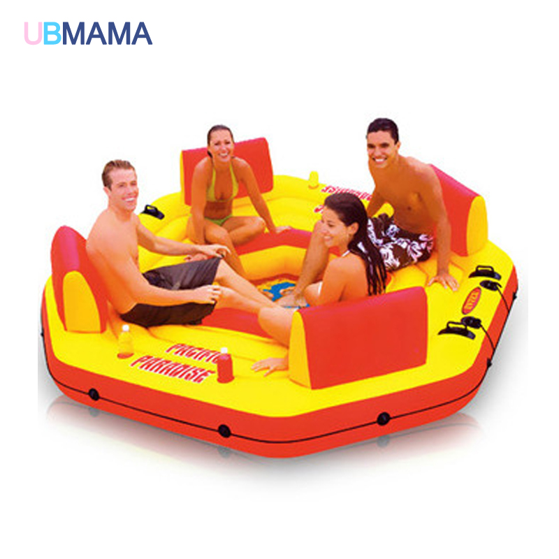 4 Persons Children Adult  Inflatable Swimming Float  Islands Swimm Ring Water Float Hommock Seat Air Mattress Water Chair Bed flamingo white swan inflatable swimming mounts on water floating bed floating row unicorn adult swimming ring