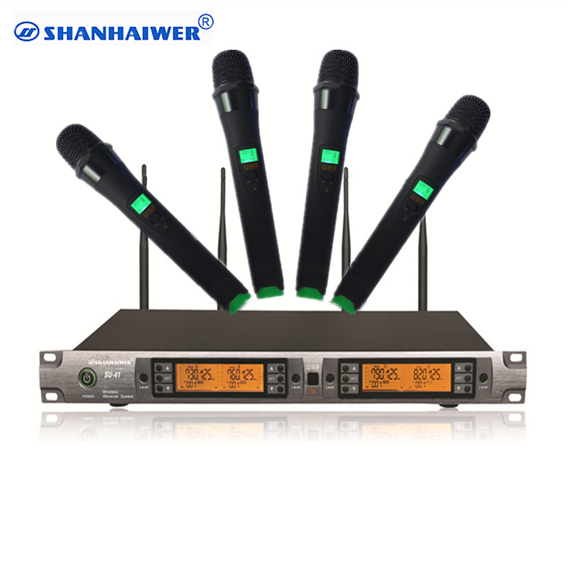 new fashion uhf 4 100 channel communication wireless handheld microphone infrared paring. Black Bedroom Furniture Sets. Home Design Ideas