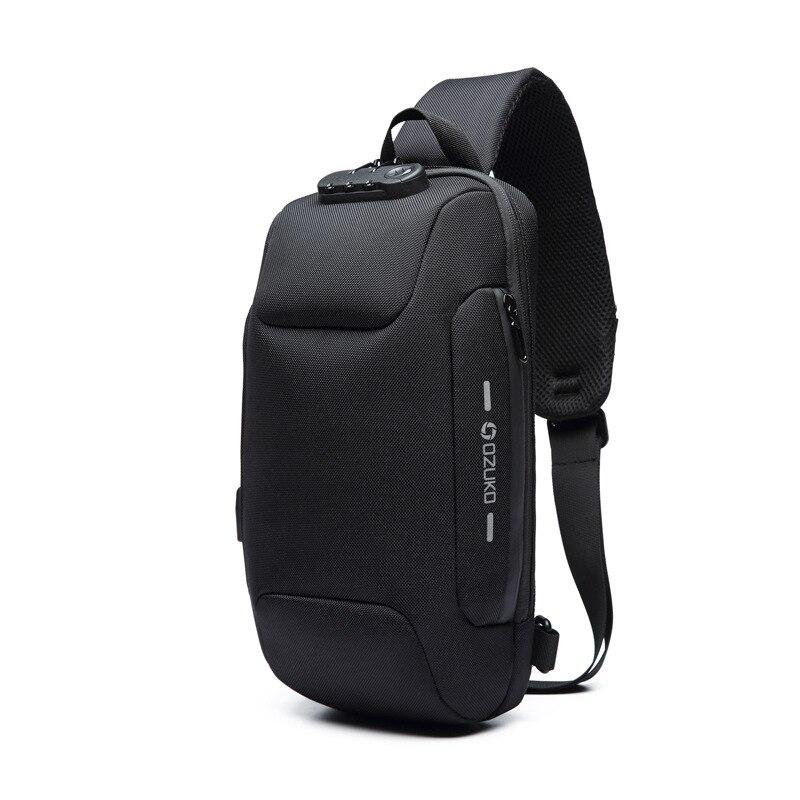 OZUKO Новая универсальная сумка через плечо для мужчин Противоугонная сумка через плечо мужская непромокаемая короткая сумка на грудь - Цвет: Черный
