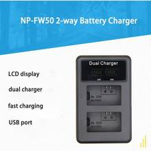 NP-FW50 Аккумуляторы для цифровой камеры Быстрая зарядка 5 В USB двойное зарядное устройство с ЖК-дисплеем для sony NEX-3 a7R Alpha a6500 a6300 a6000