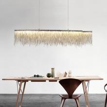 купить Aluminum Tassel Rectangular Pendant light Living Room Dining Room Home Modern Luxury Simple European Style Led Office по цене 25427.22 рублей