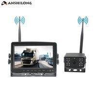 ANSHILONG Digital Wireless 7 Car Monitor Color Screen 1024 x 600 Resolution + 18 IR 700TVL Rear View Backup Camera IP68 System