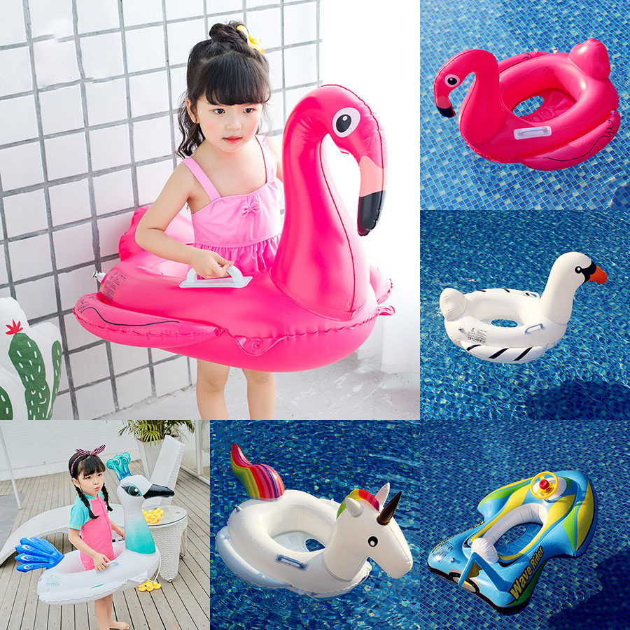 Inflatable Children girls boys Unicorn Flamingo Goose Peacock Motorcycle pattern Swim Float Ring Kids Seat Swimming Pool H1007