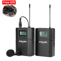 Mailada WM8 Professional UHF Wireless Microphone System Video Recording Lavalier Lapel Mic for iPhone DSLR Recorder Interview