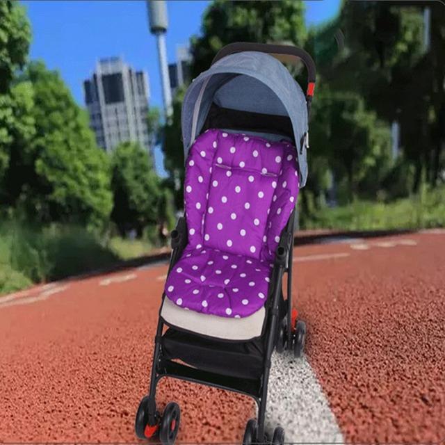 Cotton Soft Thick Baby Stroller Seat Pushchair Cushion Infant Cute White Dot Pram Cushion Accessories Baby Car Seat Cushion O
