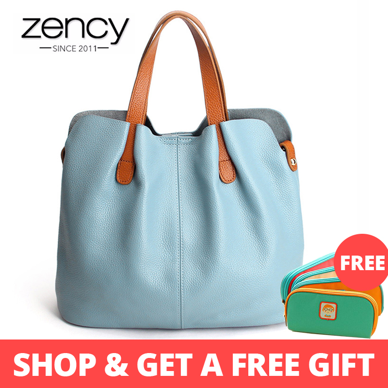 Zency Hot Sale Women Handbag 100% Genuine Leather Lady Casual Tote Female Shoulder Messenger Purse Large Capacity Shopping Bags