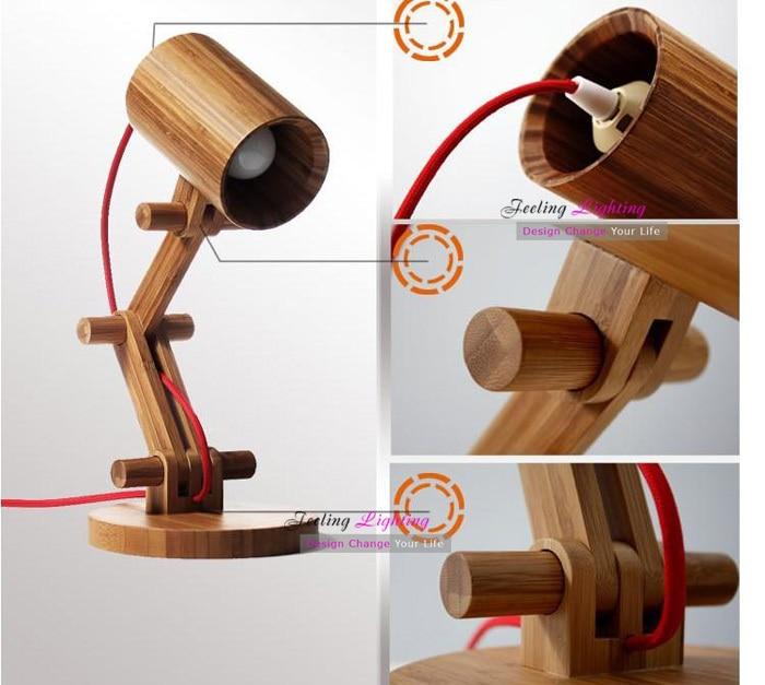 DIY Creative Table Lamp Design Original Wood Lamps Modern Wooden Robot Light Kids Room Gift 1pcs E27 40W 110V 220V In From Lights
