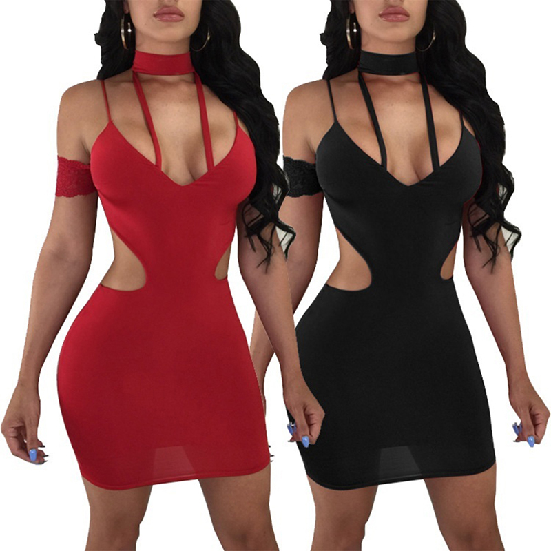 Ladies Nightclub Dress Sexy Women Dress  Summer Lace Sling Strap Women Dress Solid Color Hollow High Waist Clothing For Female