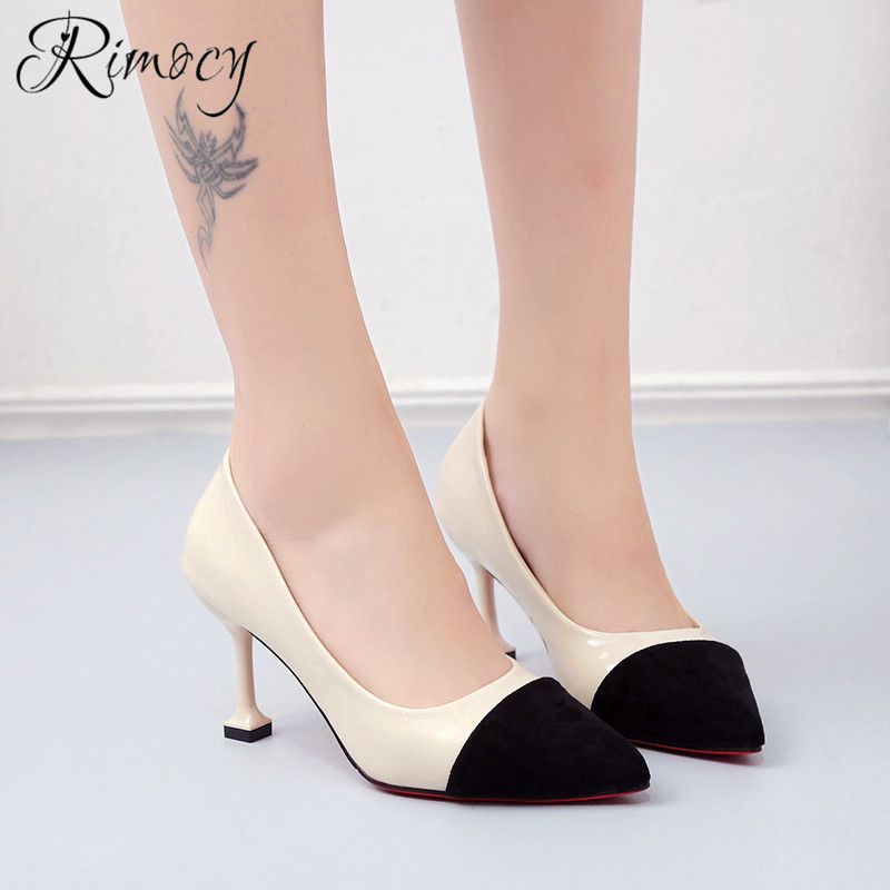 Mujeres negro Dedo Fiesta Rimocy Mujer Stiletto Primavera Moda 2019 Tamaño  Bombas De Zapatos Solo Del ... 053f24f967fc