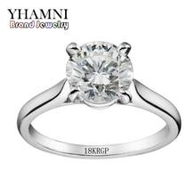 YHAMNI Luxury Original 18KRGP Stamp Pure Gold Rings Set 2 Carat Zircon Engagement Wedding Rings Jewelry Gift For Women JZR333