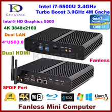 Intel 5th Gen i7-5500U Broadwell CPU,Fanless Mini Computer,Box PC,4K HTPC,2*Gigabit LAN+2*HDMI+SPDIF+4*USB 3.0+WiFi,Windows10 PC