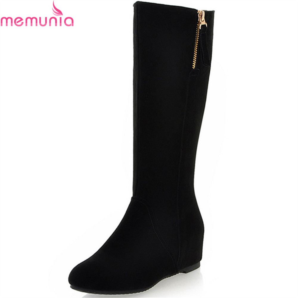 MEMUNIA 2018 fashion women boots round toe zipper cow suede ladies boots black height increasing leather mid calf boots altuzarra повседневные брюки