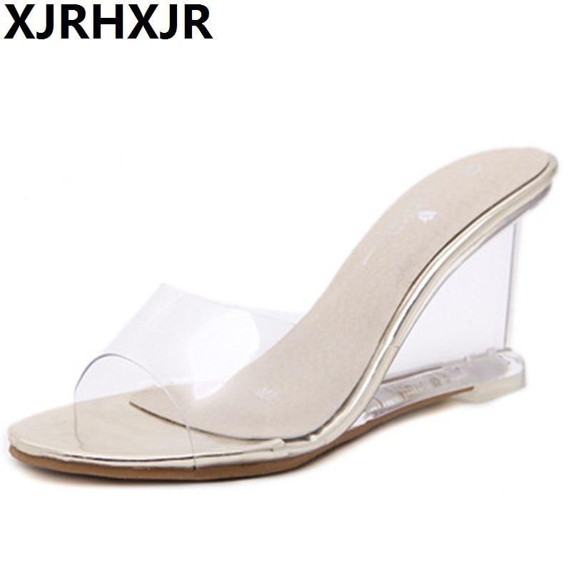 XJRHXJR 2018 Jelly Slides Open Toe High Heels Women Transparent Perspex Slippers Shoes Wedge Heel Clear Flips Plus Size 34-40 цены онлайн