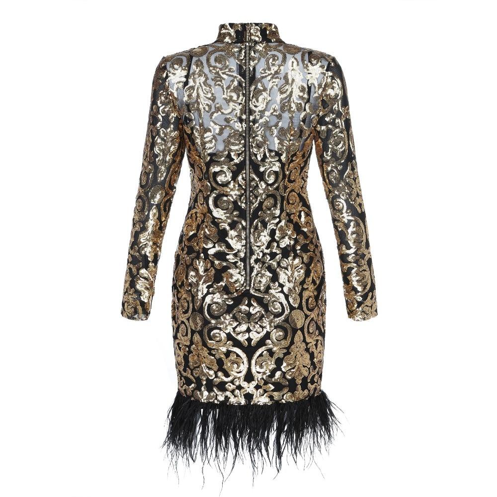 Sexy Bandage Longues Paillettes Plume À 2019 Designer Robe Mode De Femmes Luxe Manches XqEnT8