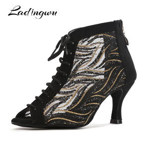 3bb893ccaeb68 Ladingwu New Latin Dance Boots For Woman Red Black Flannel and Glitter  Dance Shoes Party Ballroom Dancing Shoes Tango ladys