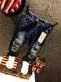 Дети джинсы толщиной зима теплая кашемировые джинсы брюки милые отверстия Детские Мальчики девочки джинсы дети брюки для 2-6 лет