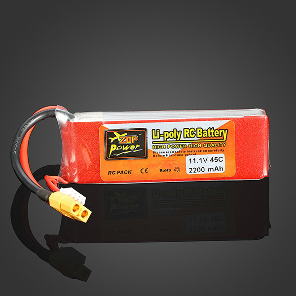 ZOP POWER <font><b>2200MAH</b></font> <font><b>11.1V</b></font> 3S 45C <font><b>Lipo</b></font> <font><b>Battery</b></font> XT60 Plug For RC Quadcopter Helicopter Multicopter Drone image