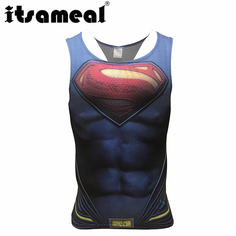 Superman Compression Men 3D Printed T-shirtsVests cosplay Tank Tops Sleeveless Fitness Body Building Male Crossfit Tops