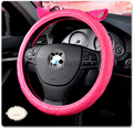 New Fashion Car Styling Cute Ear Car steering wheel car-covers 38cm lovely PU Leather Steering Covers Case black rose color