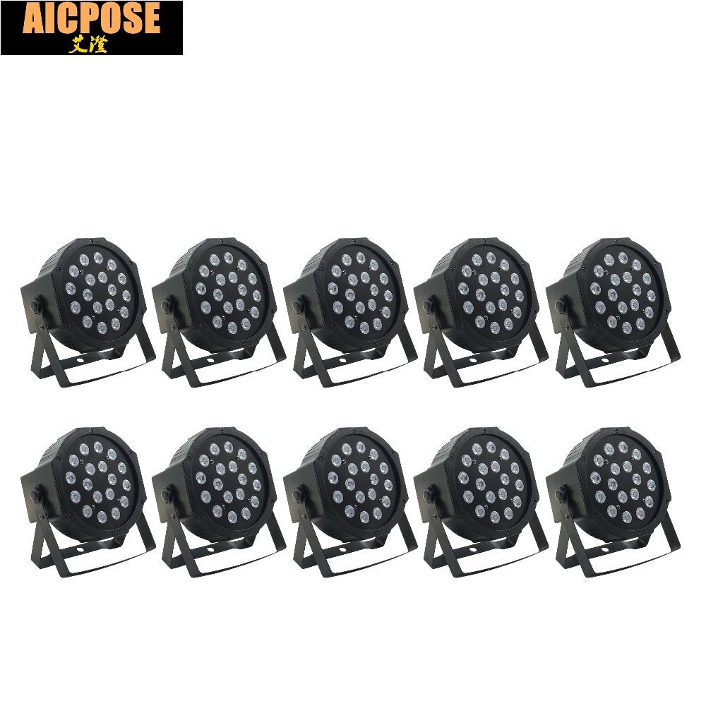 10pcs/lot 18pcs 3w Led Lamp Beads 18x3w Led Par Lights RGB 3in1 Flat Par Led Dmx512 Disco Lights Professional Stage Dj Equipment