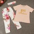 Летние девушки дети с коротким рукавом дети устанавливает детские костюмы настоящее мода повседневная хлопок печать Письмо мягкие конфеты 3 шт.