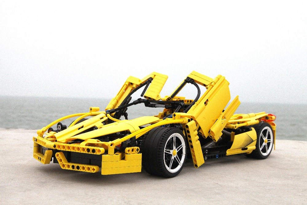 Decool Technic New yellow Enzo Ferraris 1 10 plating wheel Compatible with legoly 8653 building blocks