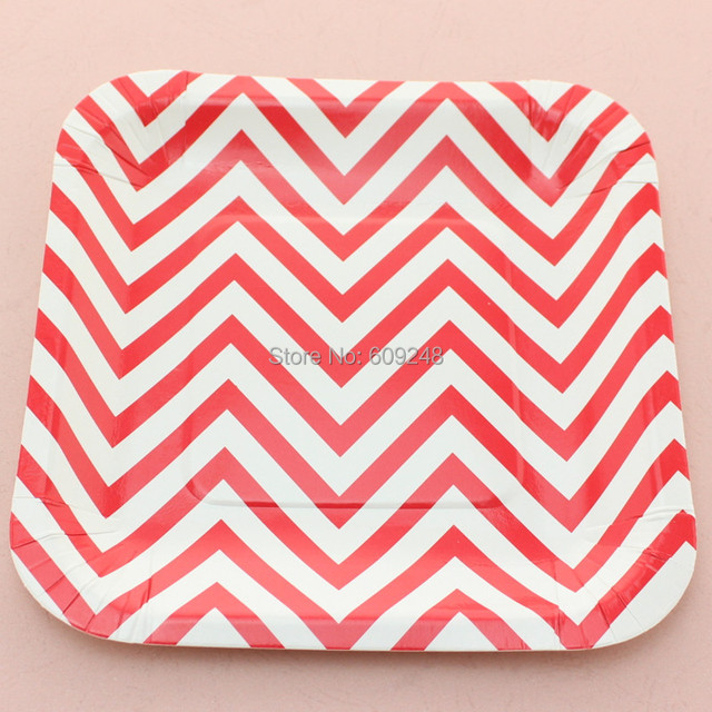 24pcs 7  Zig Zag Red Chevron Square Paper Plates BulkCheap Christmas Birthday Party  sc 1 st  AliExpress.com : bulk paper plates cheap - pezcame.com
