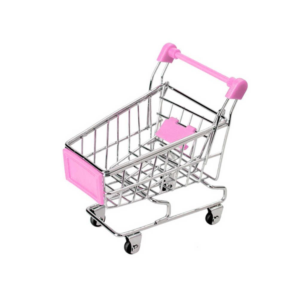 Baru Bayi Anak Simulasi Mini Keranjang Belanja Mainan Gerobak Supermarket Keranjang Penyimpanan Trolley Mainan