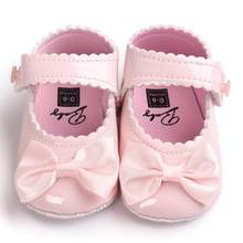 2019 Spring&Aumtum Baby Baby Girl Bowknot Leater Shoes Sneaker Anti-slip Soft Sole Toddler D#1(China)