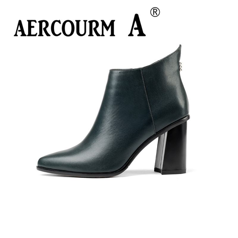aercourm A Women Cowhide Ankle Boots Genuine Leather Boots Solid Short Plush Pointed Toe Shoes High Heel Boots Side Zipper Z947