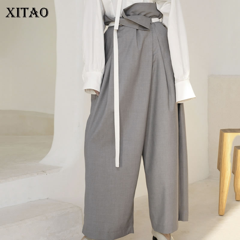 [XITAO] Spring Summer 2019 Women New Arrival Casual Loose Fashion Solid Color Patchwork Sashes Match All   Wide     Leg     Pants   WBB3170