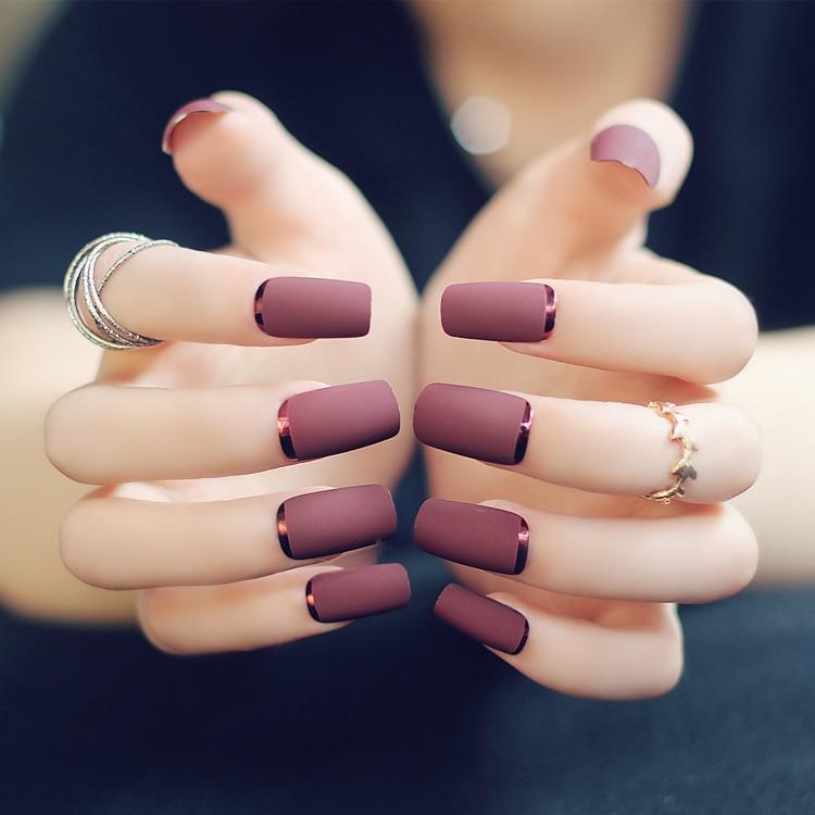 kawaii 24PCS Rose Red Nail Tips Matte Metal Manicure Long Full Cover ...